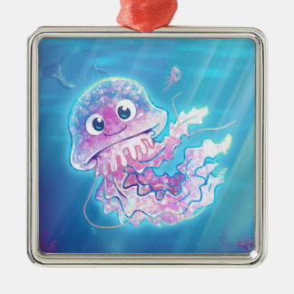 Cute Jellyfish Metal Ornament