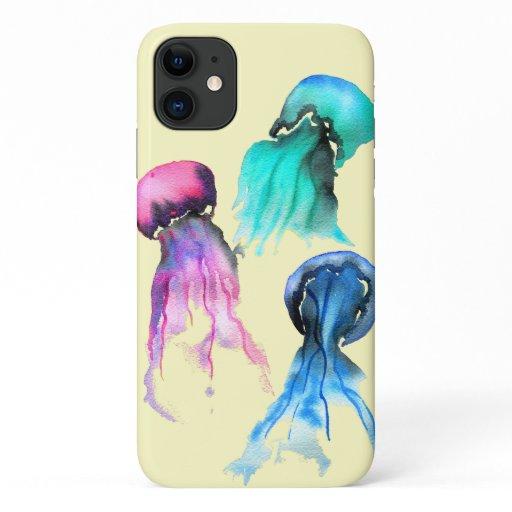 Cute jellyfish trio watercolor art iPhone 11 case