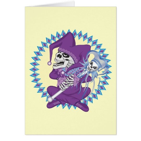 Cute Jester Skull Card