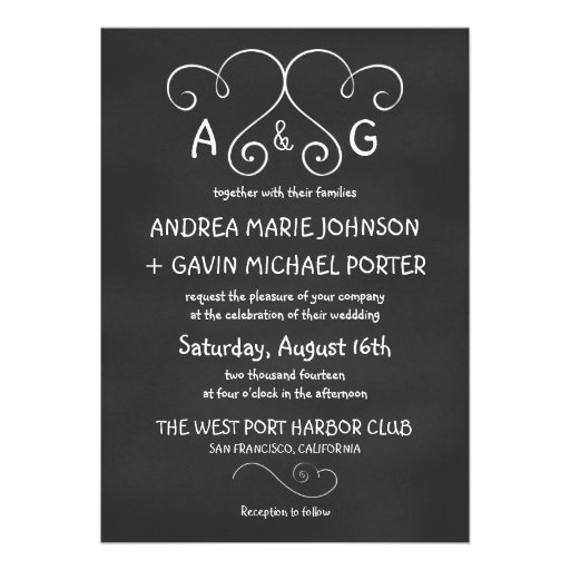 Cute Joined Hearts Chalkboard Wedding Invitations