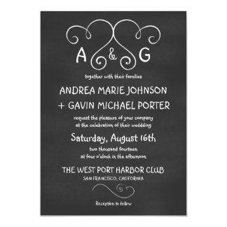 "Cute Joined Hearts Chalkboard Wedding Invitations 5"" X 7"" Invitation Card"