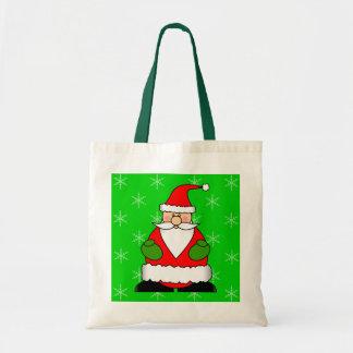 Cute Jolly Santa Holiday Cartoon Budget Tote Bag