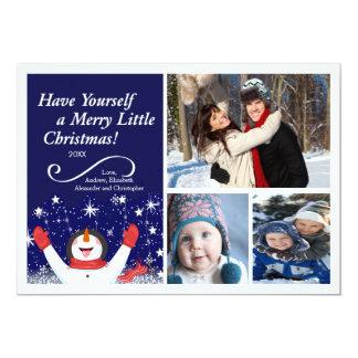 "Cute Jolly Snowman Holiday Photo Card 5"" X 7"" Invitation Card"