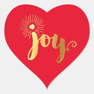 CUTE JOY HEART SEAL modern gold foil christmas red Heart Sticker