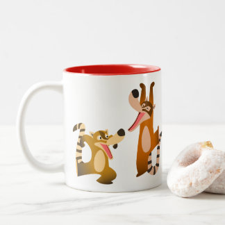 Cute Joyful Cartoon Coatimundis Two-Tone Coffee Mug