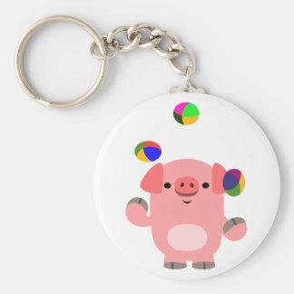 Cute Juggling Cartoon Pig Keychain