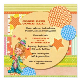 "Cute Juggling Circus Clown Birthday 5.25"" Square Invitation Card"