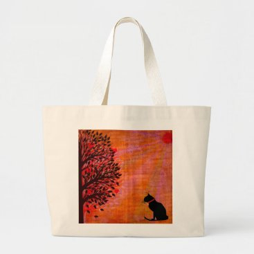 Beach Themed Cute Jumbo Cat Graphic Tote