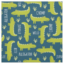 Cute Jungle Alligator Pattern on Navy Blue Fabric