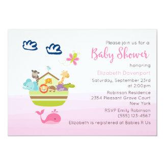 Cute Jungle Animal Ark  Baby Shower Pink Card