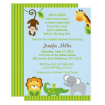 Cute Jungle Animal Baby Shower Card