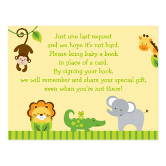 Cute Jungle Animal Book Request Cards