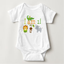 Cute Jungle Animal First Birthday Baby Bodysuit