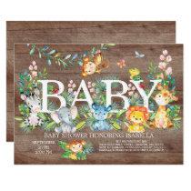 Cute Jungle Animal Girl Boy Baby shower Invitation