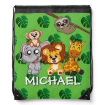 Cute Jungle Animal Green Cartoon Safari Rainforest Drawstring Bag