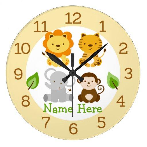 Cute Jungle Animal Personalized Nursery Wall Clock