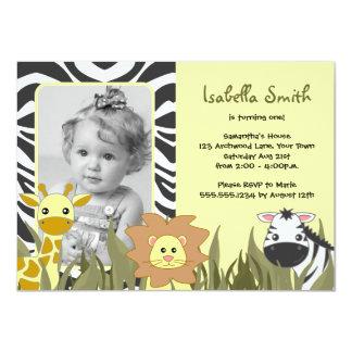 Cute Jungle Animal Photo Birthday 4.5x6.25 Paper Invitation Card