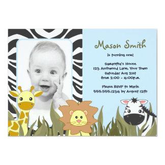 Cute Jungle Animal Photo Birthday Blue 4.5x6.25 Paper Invitation Card