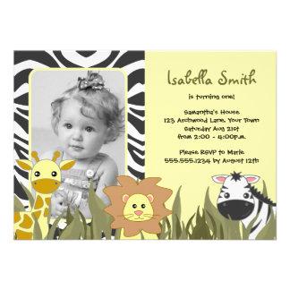 Cute Jungle Animal Photo Birthday Invite