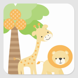 Cute Jungle Animal Stickers Square Sticker