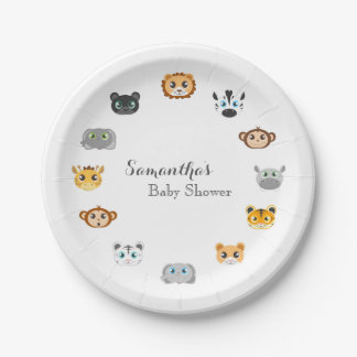 Cute Jungle Animal Theme Baby Shower 7 Inch Paper Plate