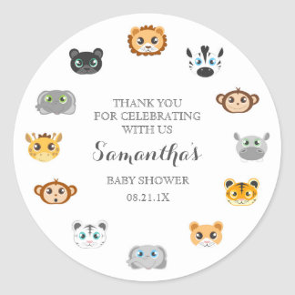 Cute Jungle Animal Theme Baby Shower Thank You Classic Round Sticker