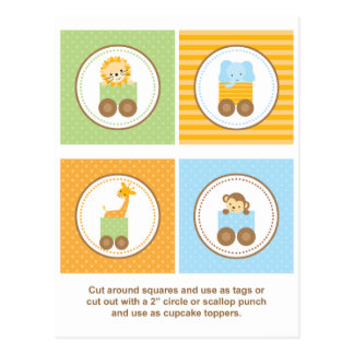 Cute Jungle Animal Train Cupcake Toppers Postcard