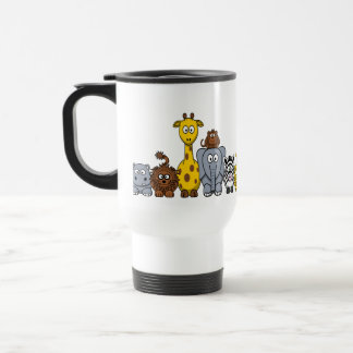 CUTE JUNGLE ANIMALS ADD YOUR TEXT 15 OZ STAINLESS STEEL TRAVEL MUG