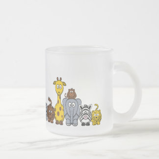 CUTE JUNGLE ANIMALS ADD YOUR TEXT FROSTED GLASS COFFEE MUG
