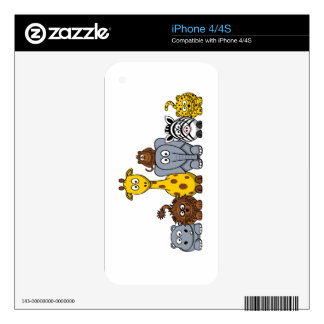 CUTE JUNGLE ANIMALS ADD YOUR TEXT iPhone 4S SKINS