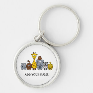 CUTE JUNGLE ANIMALS ADD YOUR TEXT Silver-Colored ROUND KEYCHAIN