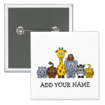 CUTE JUNGLE ANIMALS ADD YOUR TEXT PINBACK BUTTON