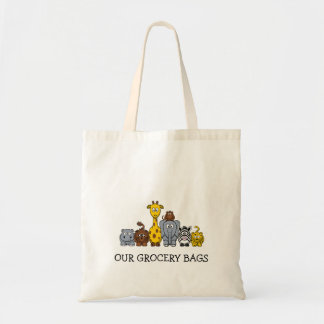 CUTE JUNGLE ANIMALS ADD YOUR TEXT TOTE BAG