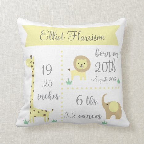Cute Jungle Animals Baby Announcement Pillow