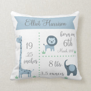 Cute Jungle Animals Baby Boy Announcement Pillow at Zazzle