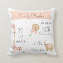 Cute Jungle Animals Baby Girl Announcement Pillow