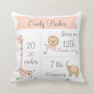 Cute Jungle Animals Baby Girl Announcement Pillow at Zazzle
