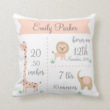 OS_Designs Cute Jungle Animals Baby Girl Announcement Pillow