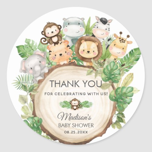 Cute Jungle Animals Baby Shower 1st Birthday Favor Classic Round Sticker