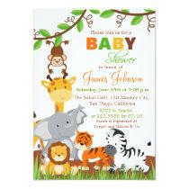 Cute Jungle Animals Baby Shower Invitation