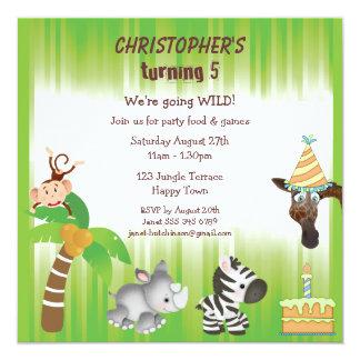 Cute Jungle Animals Birthday Party Custom Invitations