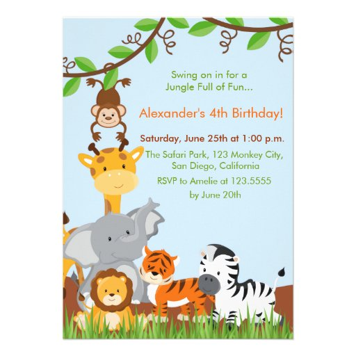 Cute Jungle Animals Boy Birthday Party Invitation Custom Announcement