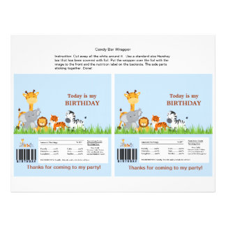 Cute Jungle Animals Boy Candy Bar Wrapper