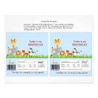 Cute Jungle Animals Boy Candy Bar Wrapper Flyer