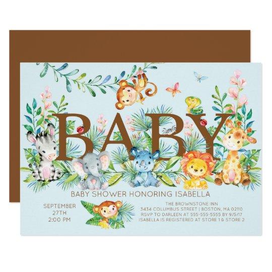 Cute Jungle Animals Boys Baby Shower Invitation Zazzle Com