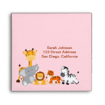 Cute Jungle Animals Girl Birthday Envelope
