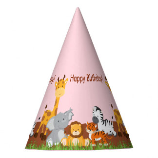 Cute Jungle Animals Girl Birthday Party Hat