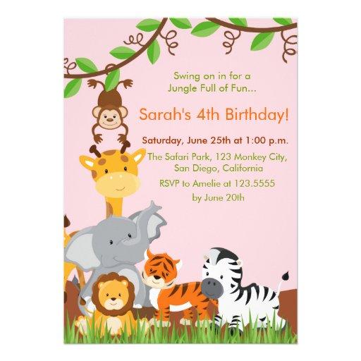 Cute Jungle Animals Girl Birthday Party Invitation Personalized Invitations
