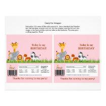 Cute Jungle Animals Girl Candy Bar Wrapper Flyer