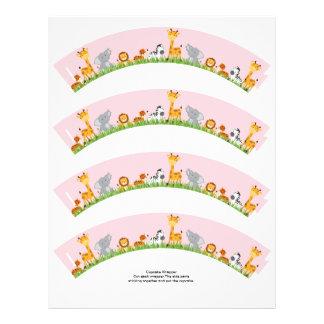 Cute Jungle Animals Girl Plain Cupcake Wrapper Flyer